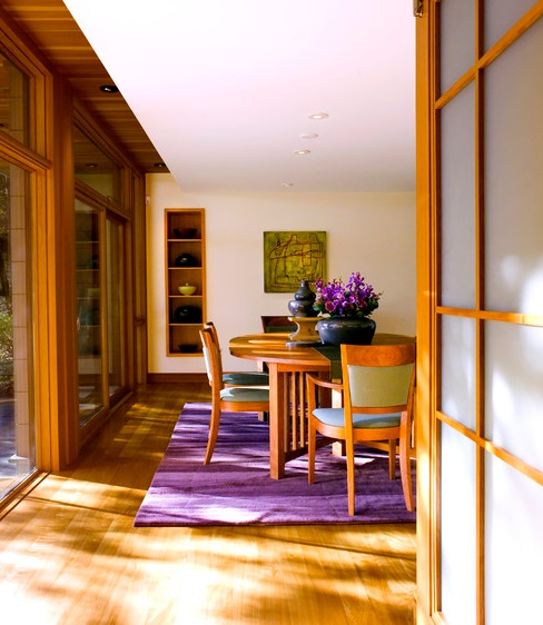 dining room with vibrant purple area rug